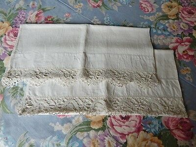Antique Linen Pillowcase Pair Trimmed w Hand Made Lace