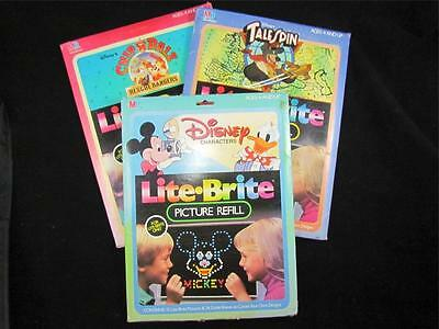 Lot 3 Packs Lite Brite Picture Refills Disney Characters, Chip N' Dale, Tailspin
