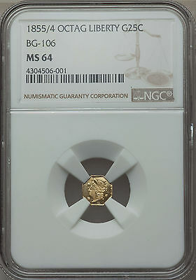 1855/4 25C Liberty Octagonal 25 Cents, BG-106, R.3, MS64 NGC (1160)