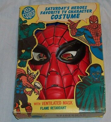 1965 Ben Cooper Spiderman Halloween Costume COMPLETE! FIRST MARVEL COLLECTIBLE!