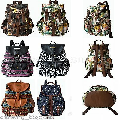 Lily Queen Women's Floral Geometric Print Casual Canvas Backpack with Drawstring