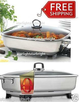 Electric Fry Pan Stainless Steel Wok Cooking Pot Fryer Roaster Glass Lid Sunbeam