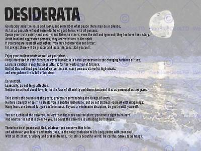 Desiderata Ehrmann Go Placidly Amid Noise Haste Quote Typography Poster Qu025