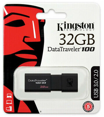 Kingston 32GB USB 3.0 Flash Drive DT100G3 32G Pen Thumb USB Memory Stick 100MBs