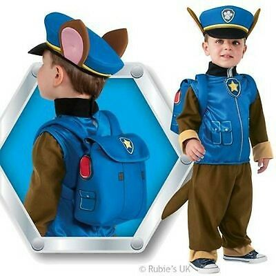 Boys CHASE Paw Patrol Cartoon Police Dog Fancy Dress Costume Kids Child Ages 1-4