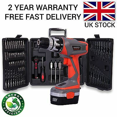 18V Cordless Drill Driver Screwdriver Diy Variable Speed Power & 68 Pcs Kit