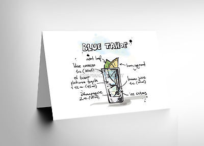 bf6e164a1bab9 LONG ISLAND ICE Tea Cocktail Drink Blank Greetings Birthday Card Art ...