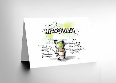 1a4ce8aa92caa HIROSHIMA Cocktail Drink Blank Greetings Birthday Card Art Cl331 ...