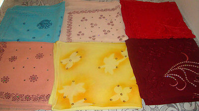 wholesale lot 10 Colored Bridal  Hijab hijabs scarve Embroidered beaded Chiffon