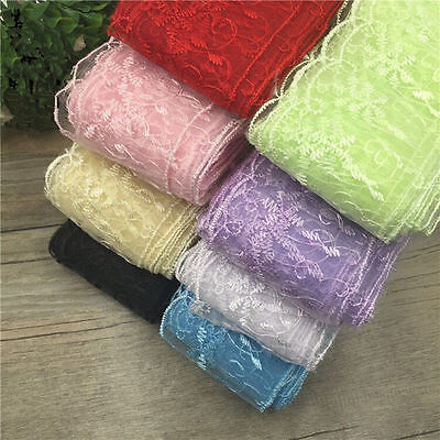 5 Yard Net cloth Lace Embroidered Fabric Sewing Applique Trim Multicolor LS04