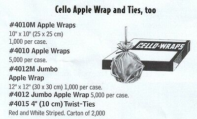 4012M Jumbo Candy Apple Wrap - 12 x 12 inch, 1000/cs. - PERFECT FOR CANDY APPLES