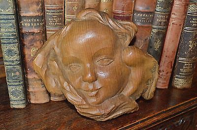 Antique Cherub Carved Natural Wood Vintage Angel