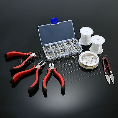 Silver Plated Jewellery Making Starter Kits Pliers Beads Chain Cord Pin Scissors