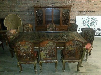Vietnamese Hand Carved Teak Wood GRAND Dining Table w Chairs & Hutch ELEPHANTS!