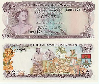 Bahamas Fifty Cents,1/2 Dollar Banknote 1965 About Uncirculated Cat#17-A-1126