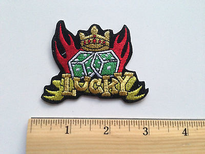 Lucky Dice Flames Embroidered Patch Iron On Applique Vegas Casino Rockabilly