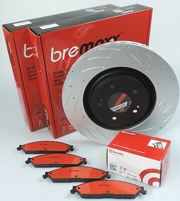 BREMBO pads & BREMAXX slotted disc brake rotors FRONT for SKYLINE R32 GTS-T GTST