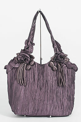 10 Stylish Quality Designer Flower Handbags With Satin Roses In Black & Purple