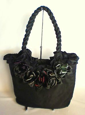 10 Stylish Quality Designer Flower Handbags With Satin Roses Black, Multicolour