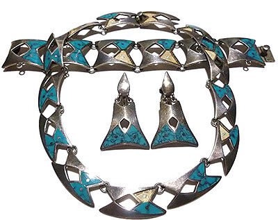 Miguel Taxco Mexico Sterling Silver Turquoise Necklace Bracelet Earrings Set Lot