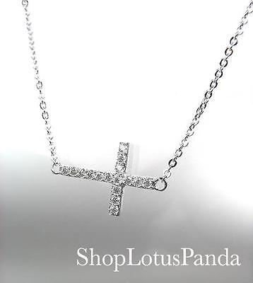 CHIC 18kt White Gold Plated CZ Crystals CROSS Pendant Petite Dainty Necklace