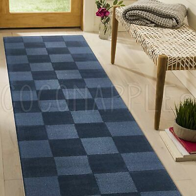 THICK HANDLOOMED NZ WOOL BLUE MODERN FLOOR RUNNER 80x400cm **FREE DELIVERY**