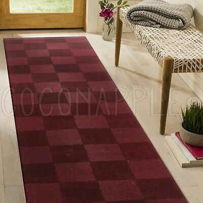 THICK HANDLOOMED NZ WOOL RED MODERN FLOOR RUNNER 80x400cm **FREE DELIVERY**