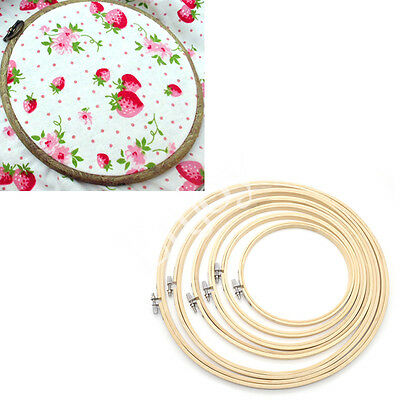 6 Pcs Embroidery Hoops Frame Bamboo Wooden Rings Cross Stitch Needlecraft New