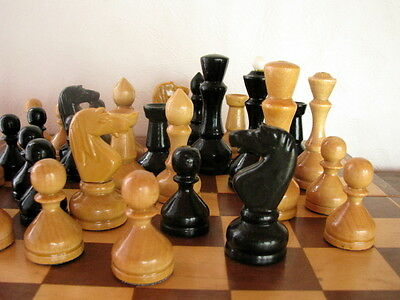 CHESS SET Large Vintage soviet wooden box USSR Russian hand carved wood 60s-70s