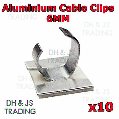 10 x 6mm Aluminium Cable Clips Self Adhesive Cable Clip Wire Sleeving Conduit
