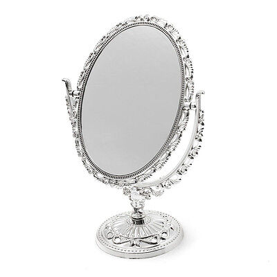 Silver Vanity Make Up Cosmetic Table Bathroom Mirror On Foot Stand Ed
