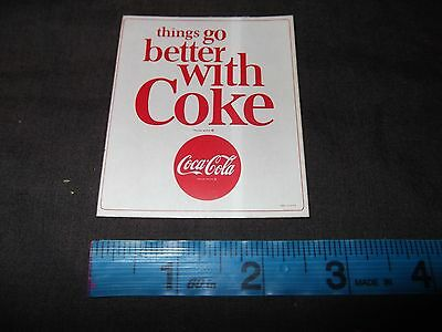 "Coca Cola Sticker Decal ""things go better with Coke"" Vintage Cooler Litho 1963"
