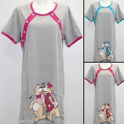 Maternity Pregnancy Breastfeeding Nursing Nightdress UK size 8 10 12 14 16 18