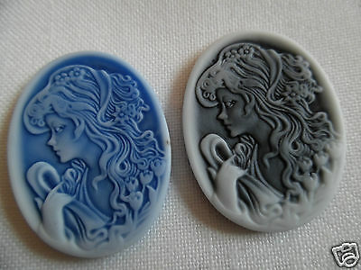 2 Cabochon ~ 30 x 40 mm ~ Kamee   ~ Farbe wählen ~