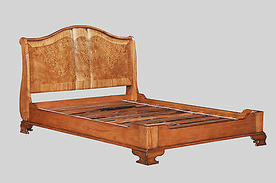 "Hampton Walnut French Sleigh Bed with Low footboard 4'6"" Double BW002"
