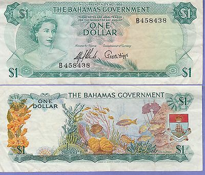 Bahamas 1 Dollar Banknote 1965 Fine Condition Cat#18-A-8438