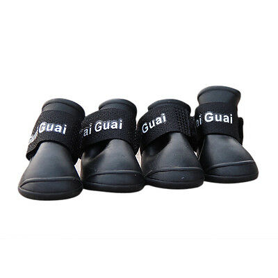 New Black Pet Dog Rain Boots Booties Waterproof Protective Rubber Shoes M N3