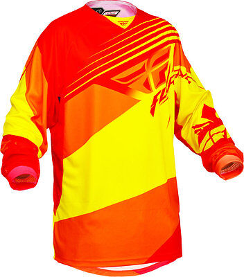 Fly Racing Kinetic Blocks Motcross Jersey Red-Yellow : Small