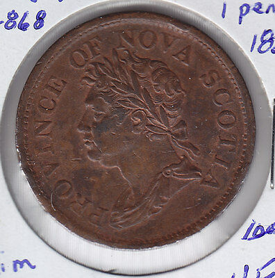 1824 Province of Nova Scotia NS-2A2 BR868 One Penny Token