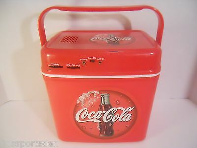 COCA COLA Advertising AM FM Radio Cooler - Battery Operated - Willow