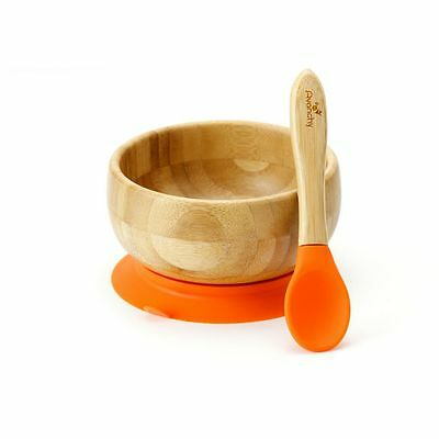 Orange, Avanchy Bamboo Stay Put Suction Baby Bowl + Baby Spoon