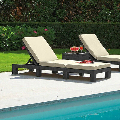 Anthracite Rattan Garden Lounger Sun Bed Chair Furniture Terrace Cushions Pool