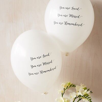 10 'You Are Loved' White Latex Funeral Condolence Balloons by Angel & Dove