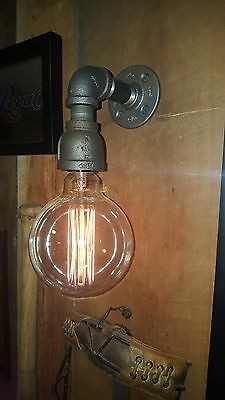 Pipe Light Wall Sconce Vintage Decor Steam Punk Industrial Dining Gas Pipe Black