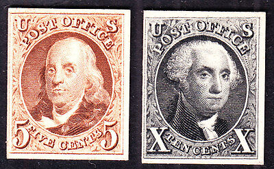 US 3P4 & 4P4 1847 Issue Franklin & Washington Proofs on Card SCV $500 (-002)