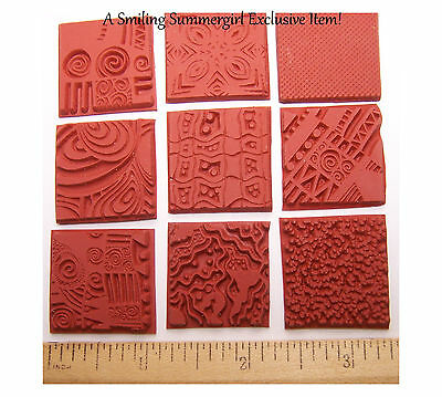 9 pc Unmounted Rubber Stamp Grab Bag Texture Designs for Polymer PMC Paper Clay