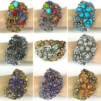 "Rhinestones Silver or Gold Plated Floral Bracelet Women Fashion Jewelry 2.5"" New"