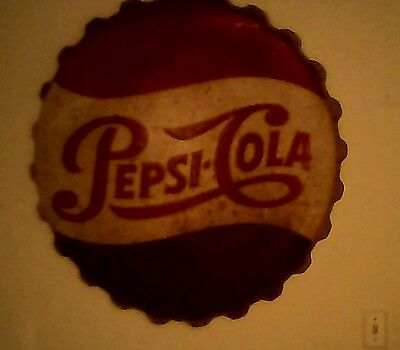Pepsi bottle cap sign 38in