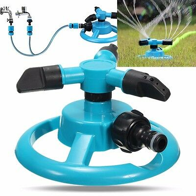 360° Rotate nozzle Auto Sprinkler Grass Garden Lawn Heavy 3-Arm Irrigation Tool