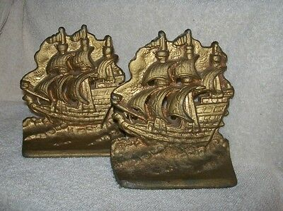 Antique Cast Iron Three Masted Sailing Ships Galleon  Bookends